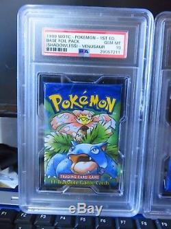 1999 Pokemon English Base 1st Edition Shadowless PSA Graded Booster Pack Set