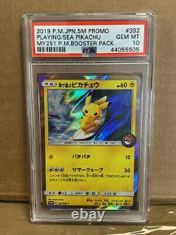 PSA 10 Pokemon Japanese Pikachu Plaing Sea MY 251 Booster pack 392/SM-P